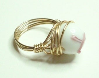 Awareness Ring Wire Wrapped Lampwork Pink White Gold