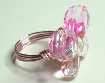 Pink Rose Gold Butterfly Handmade Wire Wrapped Ring Sizes 3-14