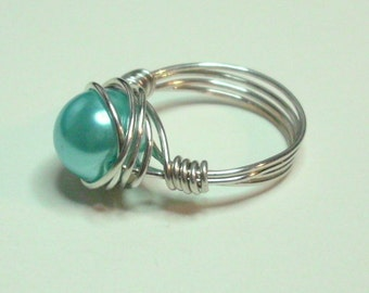 Ice Blue Silver Handmade Wire Wrapped Ring Sizes 1-14