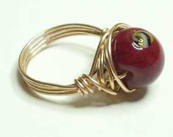 Gold Cranberry Lampwork Handmade Wire Wrapped Ring Sizes 1-14