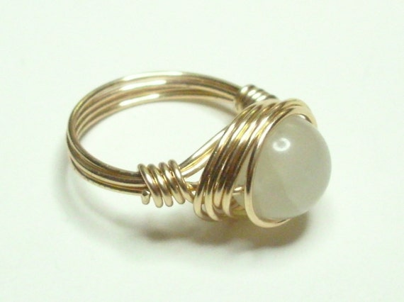 Jade and Gold Handmade Wire Wrapped Ring Sizes 1-14