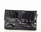 EEL Skin Clutch Bag-  Black eel skin vintage purse- by passingtimeandchimes On Etsy