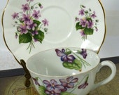 Vintage Tea Cup and Saucer  Violets -by passingtimeandchimes On Etsy