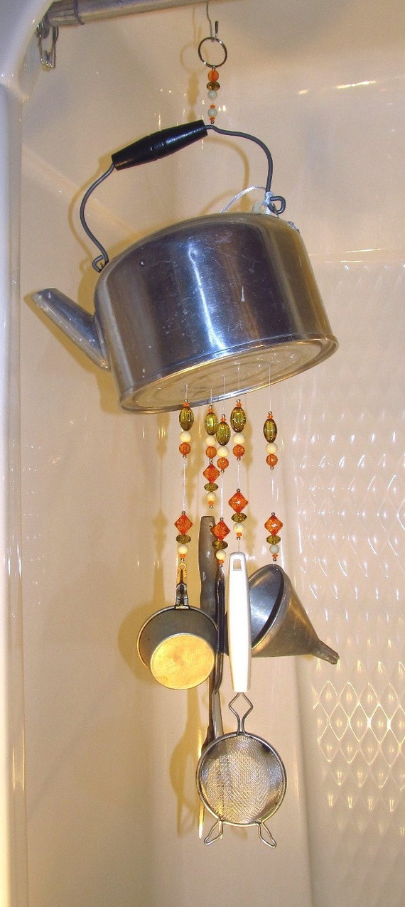 Wind Chime - Repurposed Kitchen Kettle Wind Chime- by Handmade passingtimeandchimes on Etsy