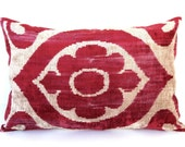 "Decorative Ikat Velvet Throw Handwoven Turkish Ikat Pillow Cover VELVET IKAT Pillowcase 16x24"" Authentic Ikat Sofa Throw Burgundy Red Beige"