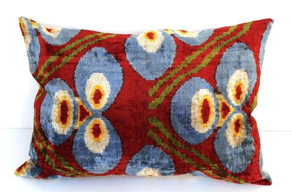 Decorative Throw Pillow by DivanCushu : Handwoven Silk VELVET IKAT Pillow Cover, 15x22inch, Ikat Accent Pillow, Dark Red, Burgundy, Blue