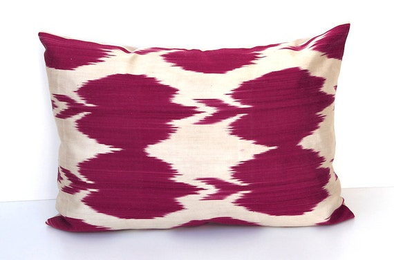Decorative Ikat Silk Throw Pillow Handwoven IKAT SILK CHERRY Pillow Cover 15x22 inch Accent Pillowcase Cushion Cover Cherry Red Creme