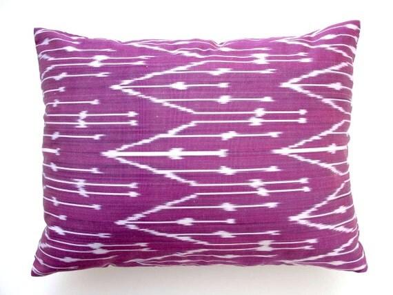 Decorative Ikat Throw Pillow Cover by DivanCushu : Hand-woven IKAT SILK Pillow, 15x20inch, Decorative Accent Pillow, Fushia Purple, White