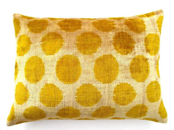Decorative Pillow Cases by DivanCushu : Handwoven Silk VELVET IKAT Pillow, 16x22inch, Accent Pillow, Yellow Pillows