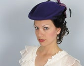Vintage 1950's Plum Purple Couture Feathered Hat Michael Howard - David M
