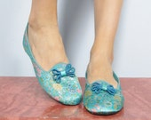 Vintage 1960's ASIAN Turquoise Slippers Shoes Size 8 DANIEL GREEN