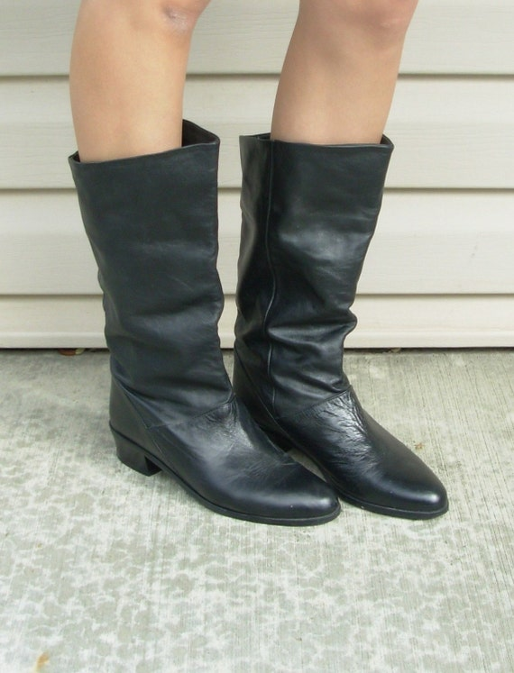 Vintage Tall Black Leather Boots -Made In Brazil