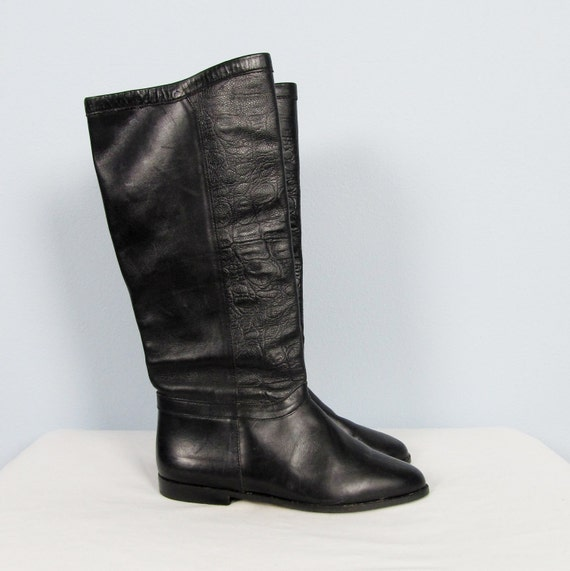 vintage 1980 s pirate boots black leather by jlvintage