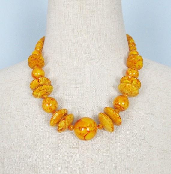 Vintage 1960's Mustard Orange MOD Chunky Necklace