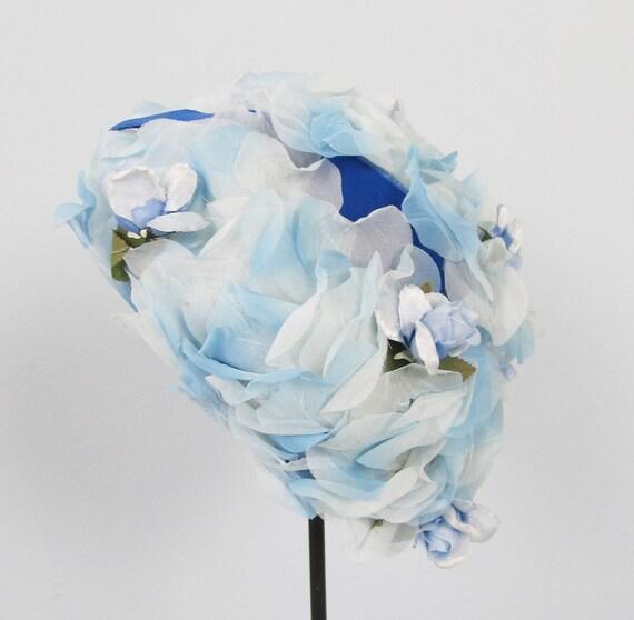 RESERVED Vintage 1950's Blue Silky Floral Pillbox Hat
