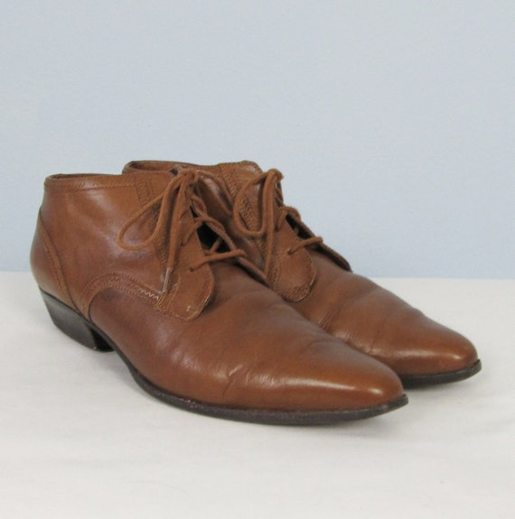 Vintage Brown Leather Granny Pixie Boots - Size 8 1/2