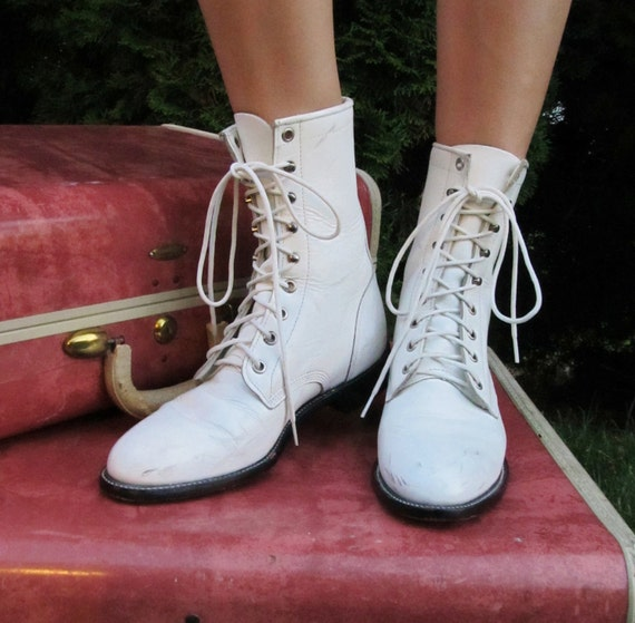 Vintage White Leather JUSTIN Roper Lace-Up Boots Size 7