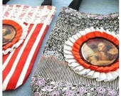 At The Circus Mini Cotton Tote Purse Bag Fully Reversible   Bold Red and White Stripes and Vintage broad lace trim- by OnePerfectDay