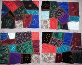 4 Vintage Fabric CRAZY QUILT blocks hand made & hand embroidered for wall hanging doll quilt crafts art