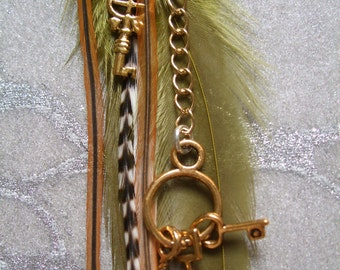Feather Earrings - Single - Fall Colors in Olive Green, Auburn Brown, White & Grizzly Stripes w Gold Chains w Key Charms, Ornate Gold Cone