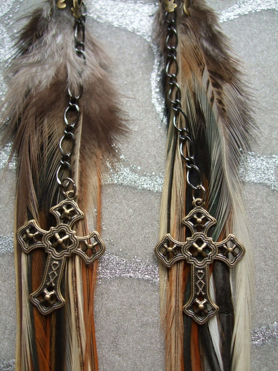 Feather Earrings Long Browns Creams & Black Feathers w Vintage Look Cross Charms, Brass Chains, Ornate Cones w Beads, Boho, Tribal