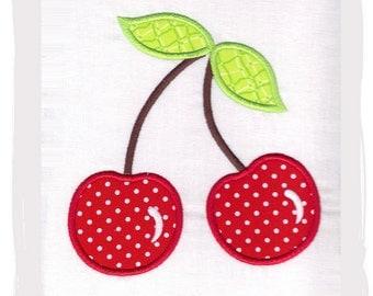 Cherry Machine Embroidery Applique