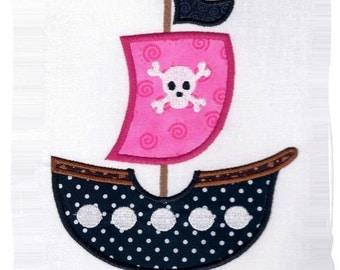 Pirate Ship Machine Applique Embroidery Design