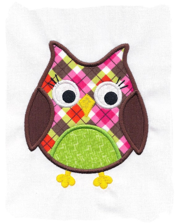 Items similar to owl machine embroidery applique design on