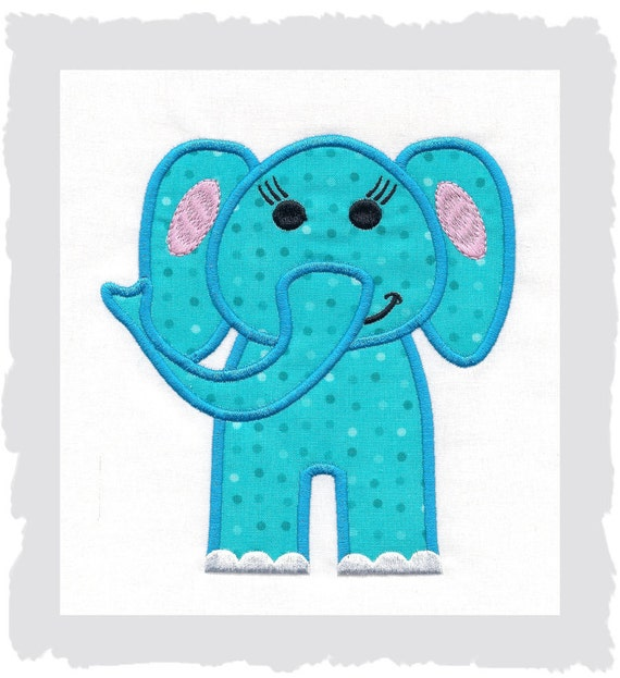 Items similar to elephant machine applique embroidery