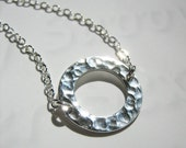 Circle Charm Necklace - Sterling Silver Hammered Pendant, Washer Style, Dainty, Delicate, 16 inch Cable Chain, Feminine, Everyday Necklace