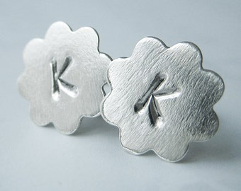 33% OFF SALE - Letter K Initial Sterling Silver Post Flower Earrings, Hand Stamped Earrings, Studs, Dainty, Girlie
