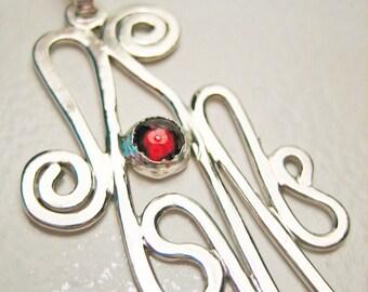 33% OFF SALE -Garnet Pendant - Sterling Silver Abstract Swirl, Metalwork, Artsy, Hip, Chic Jewelry, Modern, Minimalist, OOAK