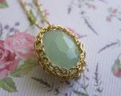 Synthetic Quartz Aqua Pendant, Crochet Gold Filled