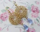 Crochet Circle Earring, Purple Swarovsky Tear Drop, Bridesmaid Jewelry, Dangle Earring, Swarovski Earring