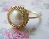 Crochet Ring - Goldfilled Large Fresh Water Pearl Ring