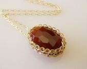 Carnelian Necklace, Crochet Goldfilled Wire, Wire warapped Jewelry, Bridesmaid Jewelry, Wire Crochet Jewelry