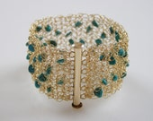Bridal Crochet Knitting Gold Filled Bracelet with Turquoise Beads