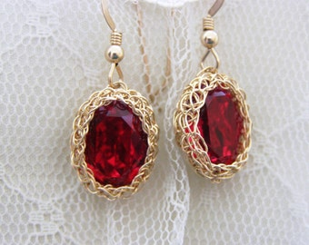 Crochet Earring, Wire Goldfilled Earring, Bridesmaid Earring, Swarovsky Earring