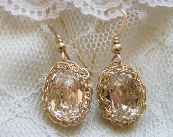 Crochet Knitting Gold filled Swarovsky Earring - Bridal - Clear Crystal