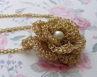 Crochet Flower Pendant, Crochet Goldfilled Wire, Bridal Freshwater Pearl Necklace, Wedding Necklace