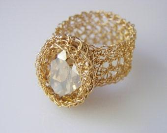 Crochet Ring - Oval Swarovsky Ring