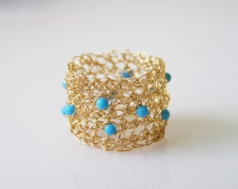 Crochet Ring, Turquoise Ring,  Crochet Goldfilled Wire, Bridesmaid Jewelry