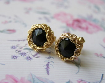 Crochet Goldfilled Post Onyx  Earring