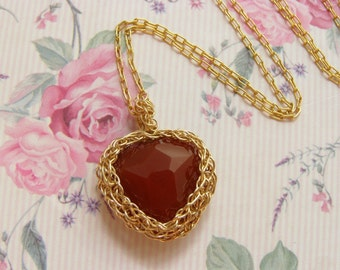 Valentines Day Heart Pendant Necklace, Crochet Goldfilled wire,  Heart Shape Carnelian Pendant, Valentines Day