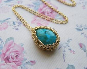 Turquoise Tear Drop  Pendant, Goldfilled Tear Drop Turquoise Pendant