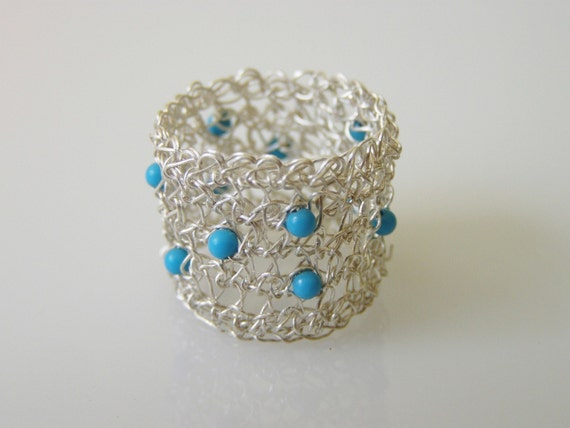Crochet Ring - Fine Silver Ring with Turquoise Beads