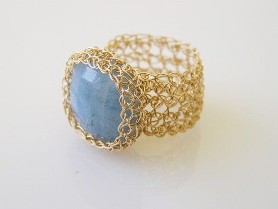 Crochet Ring, Square Aqua Marine Ring, Goldfilled Ring, Wide Band Ring, Crochet Wire Jewelry, Bridesmaid Jewelry