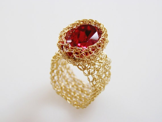 Swarovsky Ring, Crochet Gold Wire, Wide Band Ring, Red Oval Swarovsky Crystal, Wire Wrapped, Wire Crochet Jewelry