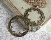 FREE SHIPPING - Two or more items - Deco Arch Earrings - Vintage inspired antiqued brass hoops with intricate design