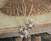 FREE SHIPPING - Two or more items - Dogwood Blossom Earrings - Antique silver or brass dogwood flower dangle